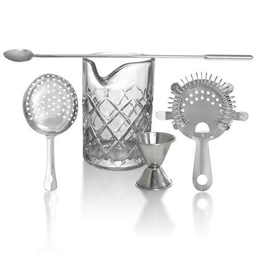 BarConic® 5 Piece Professional Diamond Pattern Stirred Cocktail Set