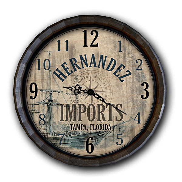 Vintage Imports - Custom Wood Barrel Top Clock
