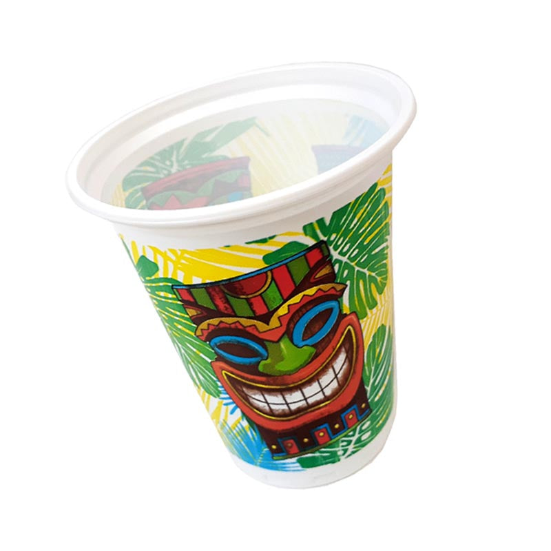 TIKI TIME PLASTIC CUPS - 16 OZ - Pack of 8