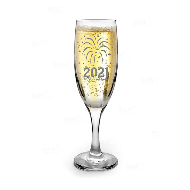 2021 Happy New Year 6oz Champagne Flute Glass