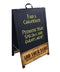 """ADD YOUR NAME"" A-Frame Sidewalk Chalkboard Sign – Double Sided - Wood Finish Options - Design 1 - BLACK MATTE FRAME FINISH"