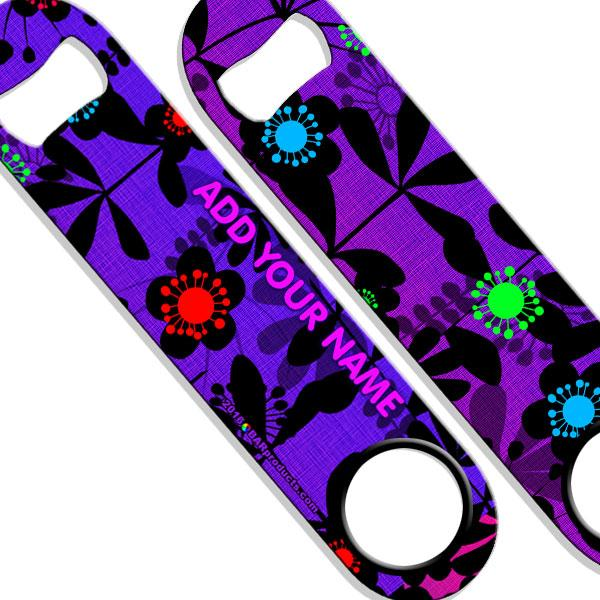 ADD YOUR NAME SPEED Bottle Opener – Abstract Flowers PURPLE