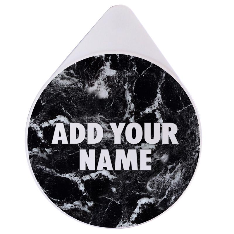 ADD YOUR NAME - Custom Glass Rimmer Lid - Black Marble