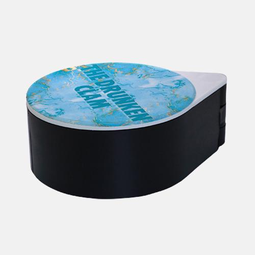 ADD YOUR NAME - Custom Glass Rimmer Lid - Turquoise Marble with black base