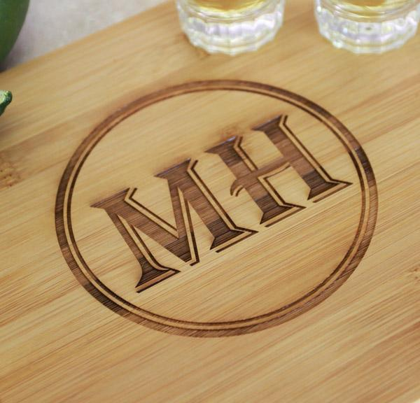 Personalized Bamboo Cutting Board and Shot Glass Set