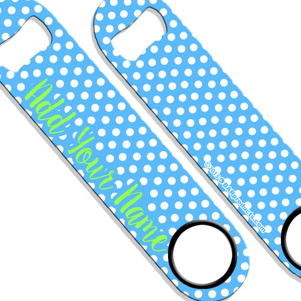 ADD YOUR NAME SPEED Bottle Opener – Polka Dots - Blue