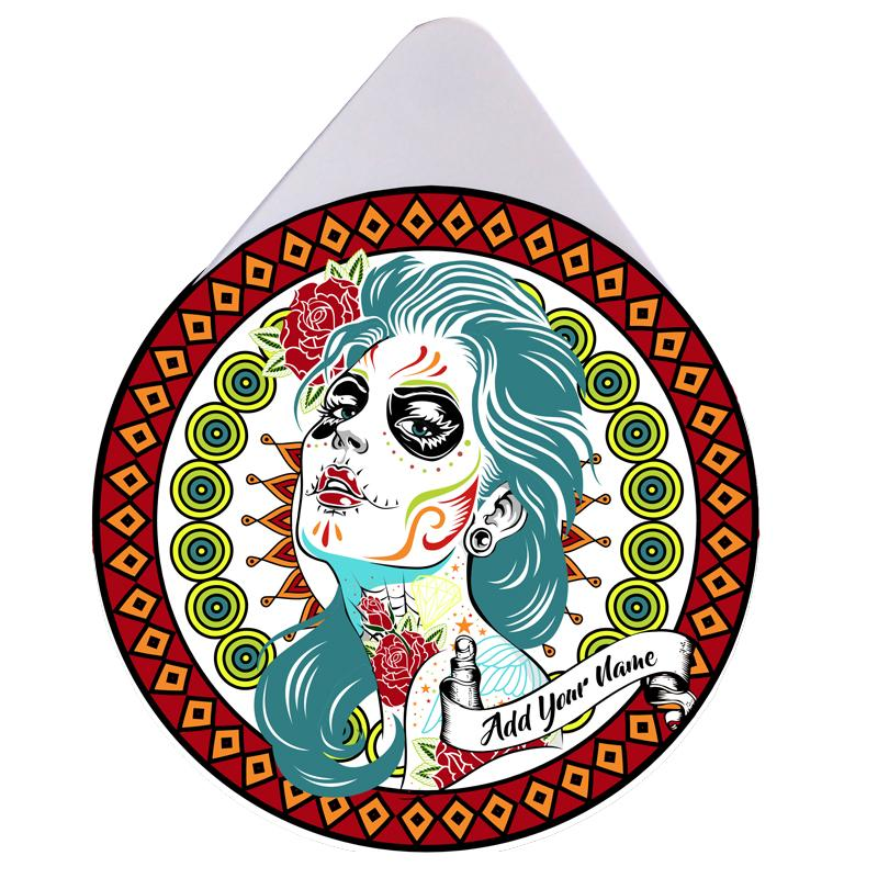 ADD YOUR NAME - Custom Glass Rimmer Lid - Sugar Skull Girl