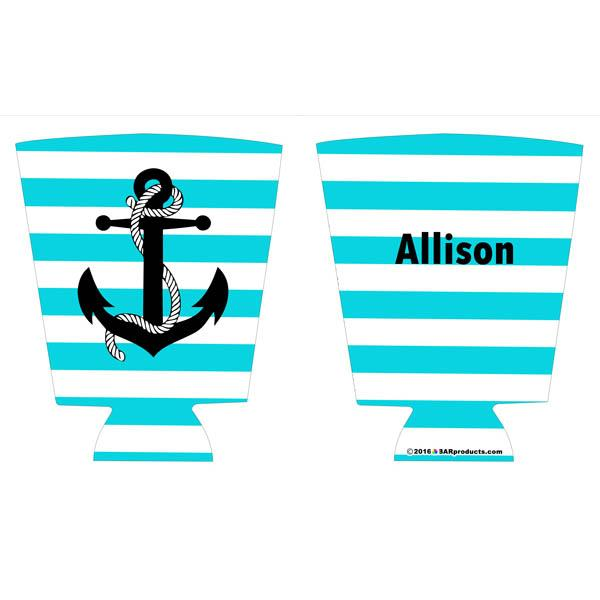ADD YOUR NAME Pint Glass Cooler - Anchor with name