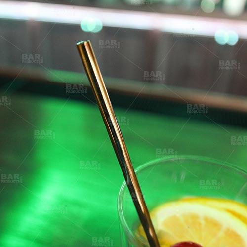 Antique Gold Plated Straight Cocktail Straws - 4 pack