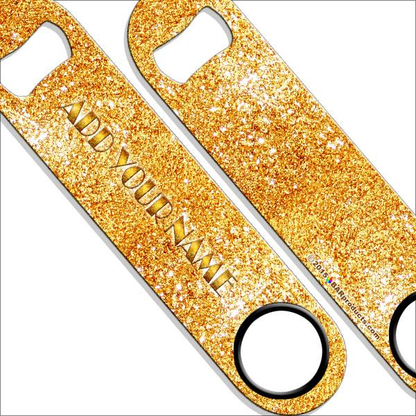 """ADD YOUR NAME"" SPEED Bottle Opener – Bling – Several Color Options - Gold"