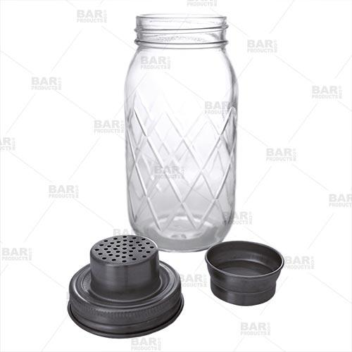 BarConic® Glassware - Diamond Cut Mason Jar Shaker - 24oz