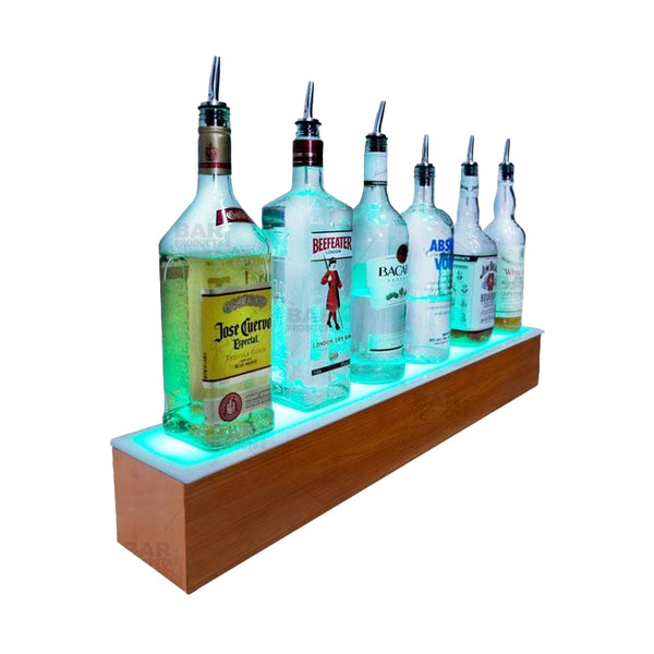 BarConic® LED Liquor Bottle Display Shelf - 1 Step - Wild Cherry - Several Lengths