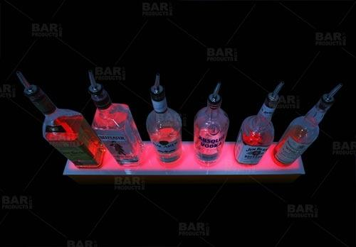 BarConic® LED Liquor Bottle Display Shelf - 1 Step - Mahogany - Several Lengths