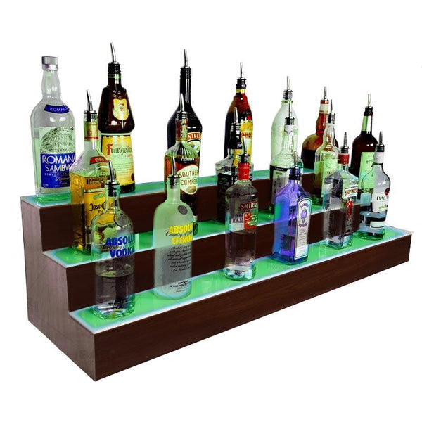 BarConic® LED Liquor Bottle Display Shelf - 3 Steps - Mahogany - Several Lengths