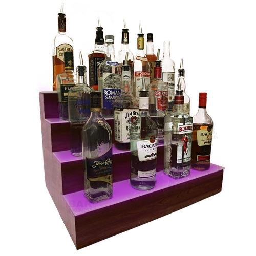 BarConic® LED Liquor Bottle Display Shelf - 4 Steps - Mahogany - Several Lengths