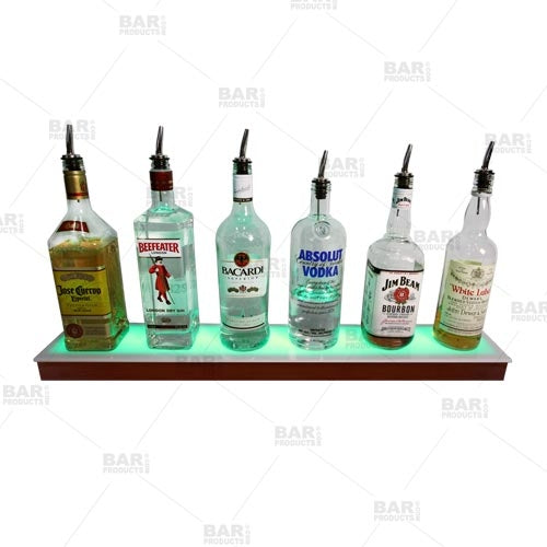 BarConic® LED Liquor Bottle Display Shelf - Low Profile - 1 Step - Mahogany - Several Lengths