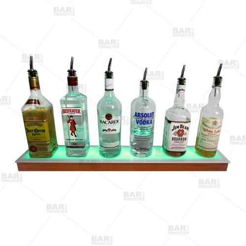 BarConic® LED Liquor Bottle Display Shelf - Low Profile - 1 Step - Wild Cherry - Several Lengths