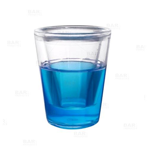 BarConic® Plastic Shot Glass with Double Wall - Blue - 1.5 oz