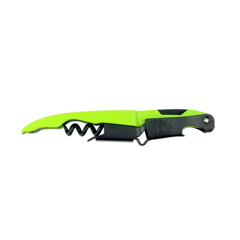 BarConic Neon Green and Black Double- Hinged Corkscrew with Black Worm
