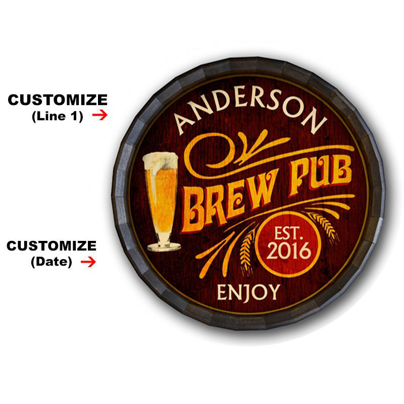 Brew Pub Custom Wood Barrel Top Sign