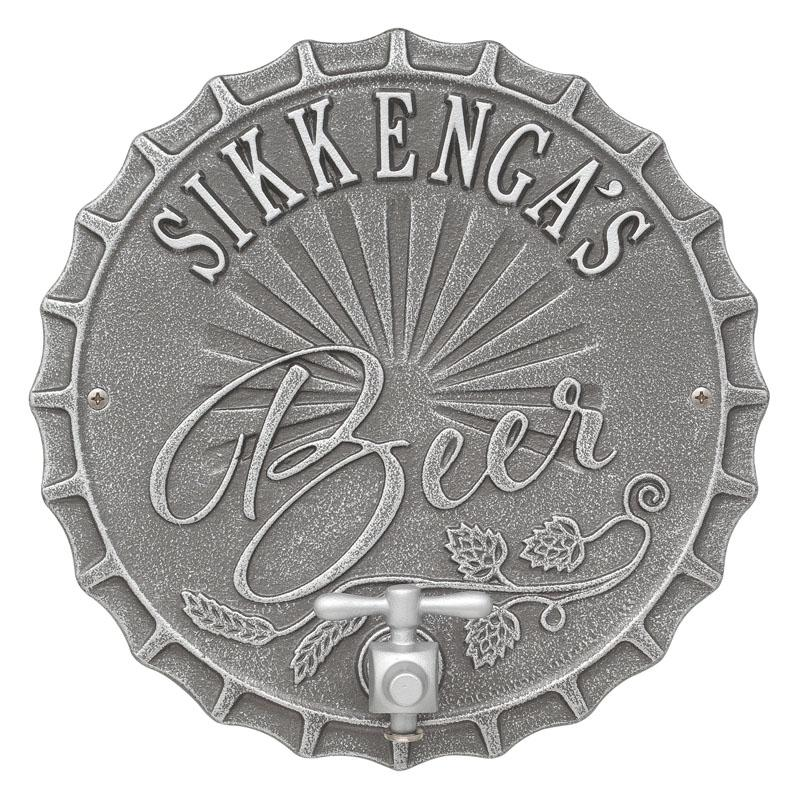 CUSTOMIZABLE Cast Aluminum Plaque (and Bottle Opener) - Bottle Cap Brew Design