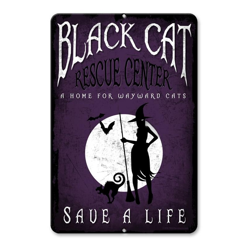 "Black Cat Rescue - 12"" x 18"" Halloween Metal Bar Sign"