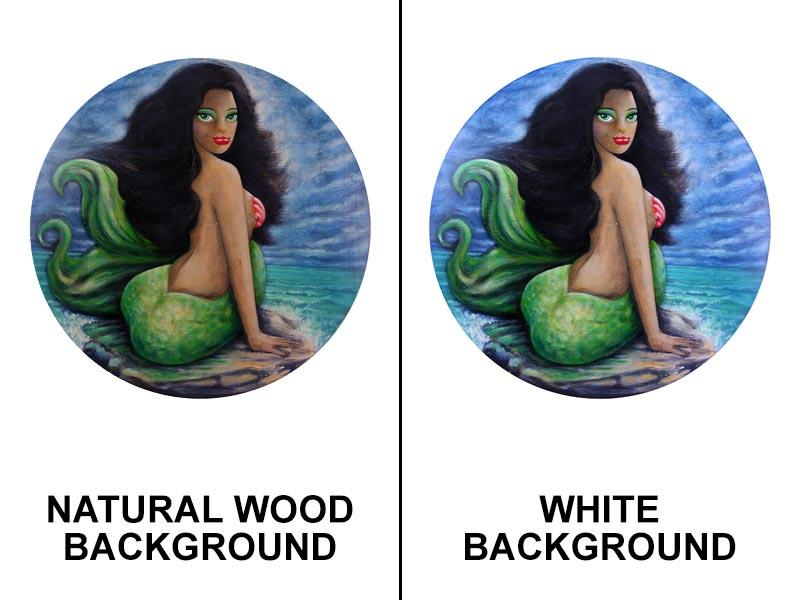 Brunette Mermaid Round Wooden Table Top - Two Sizes Available