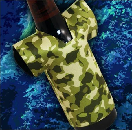 T-Shirt Style Bottle Coozie - Camo Forest