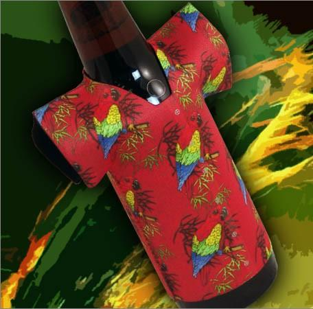 T-Shirt Style Bottle Coozie - Hawaiian Parrot