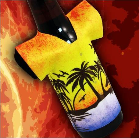 T-Shirt Style Bottle Coozie - Hawaiian Sunset