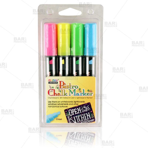 4 Piece Broad Point Chalk Marker Set (Fluorescent Blue, Green, Yellow, Pink)