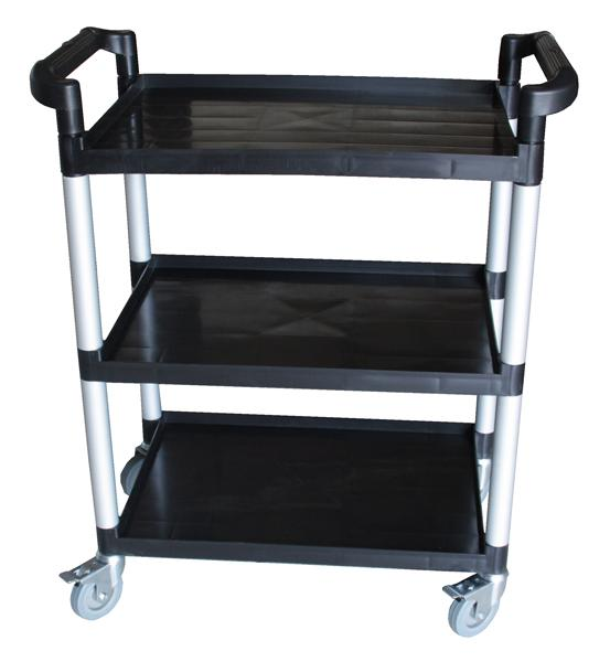 3 Tier Bus Cart- Black Plastic