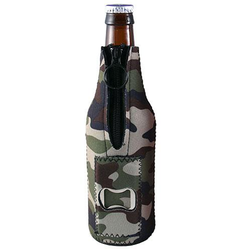 Camo Neoprene Bottle Cooler w/ Bottle Opener