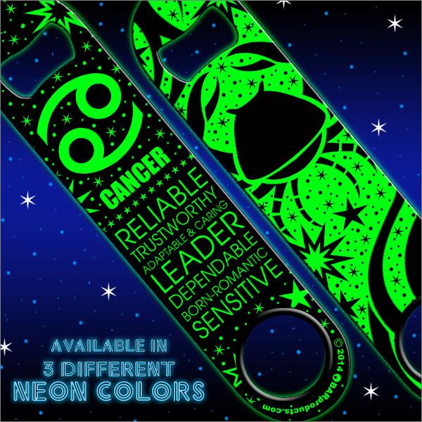 Kolorcoat™ NEON Zodiac Speed Bottle Opener - CANCER - GREEN