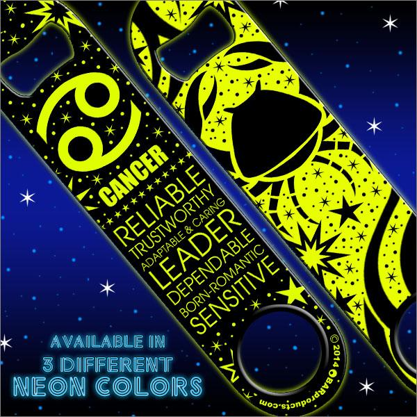 Kolorcoat™ NEON Zodiac Speed Bottle Opener - CANCER - YELLOW
