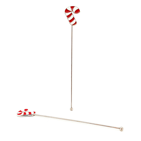 Candy Cane Pendant Stirrers - Stainless Steel - Set of 2