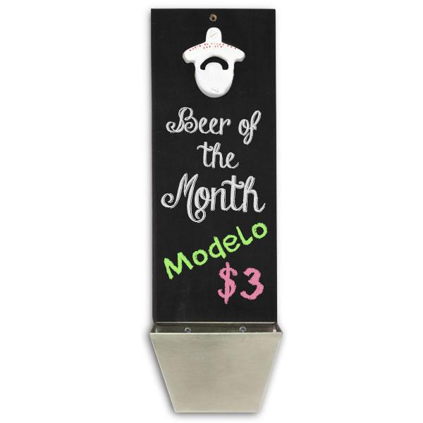 Chalkboard Wall Mounted Bottle Opener with Cap Catcher