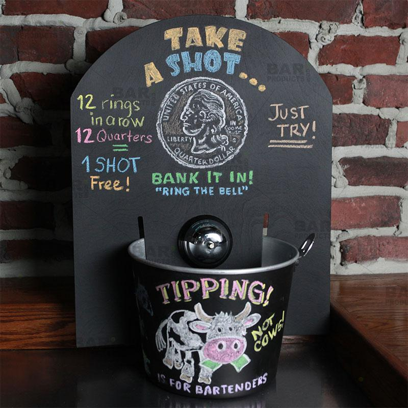 QuarterBackBoard™ Tip Jar Chalk Backboard with Bell