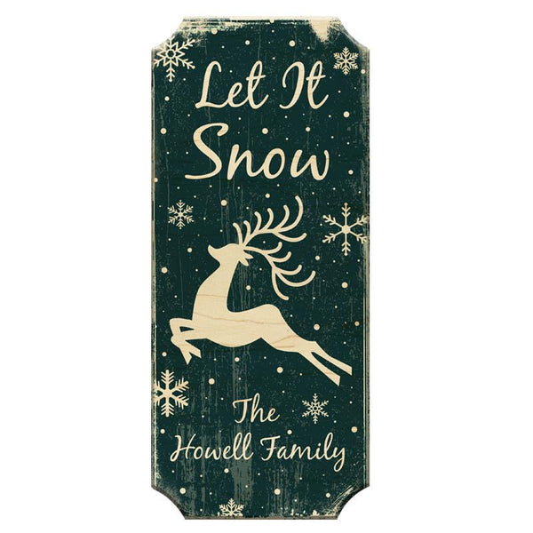 CUSTOMIZABLE Wood Christmas Sign - Let It Snow - Color Options