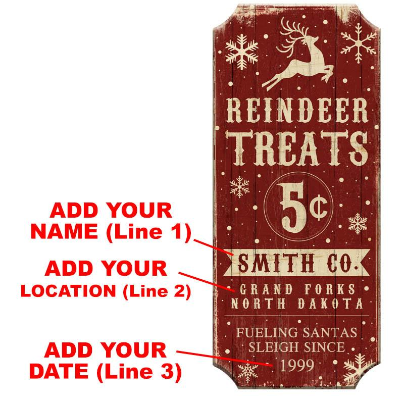 Reindeer Treats - CUSTOMIZABLE Wood Christmas Sign