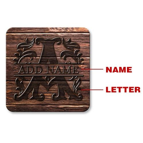CUSTOMIZABLE Wood Monogram Letter - Cork Bottom Coaster