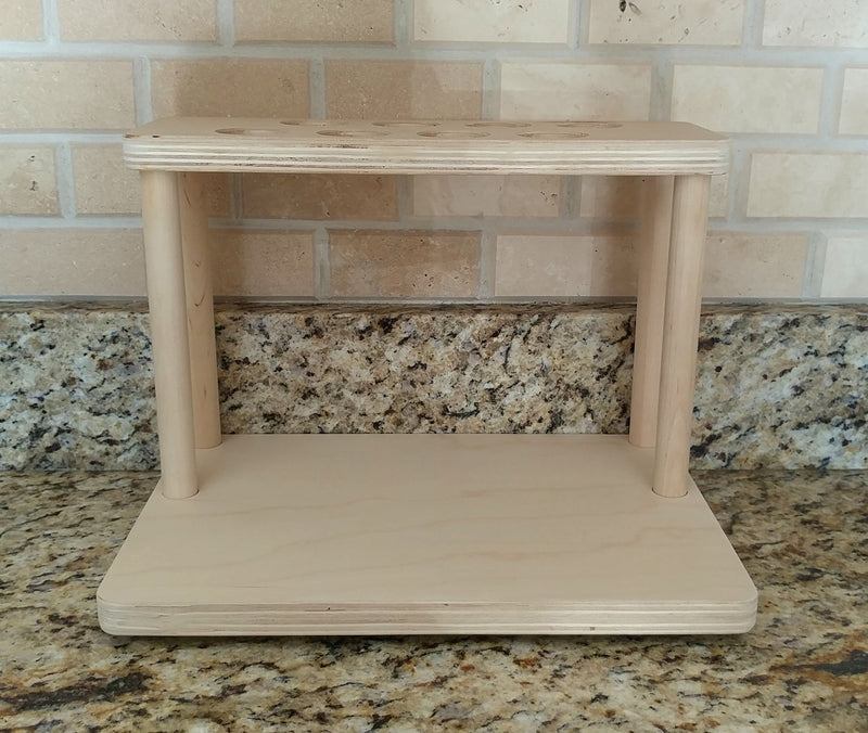 "Counter Caddies™ - NATURAL - 12"" STRAIGHT Shelf w/ K-Cup Holes"