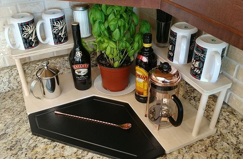 Counter Caddies™ - NATURAL - CORNER Shelf - Barista Theme