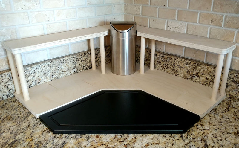 Counter Caddies™ - NATURAL - CORNER Shelf w/ Trash Can Inset