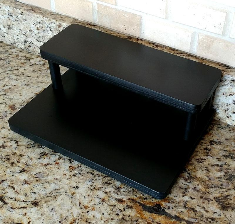 "Counter Caddies™ with BLACK finish - 3.75"" H Dowel Rods - 12"" STRAIGHT Shelf"