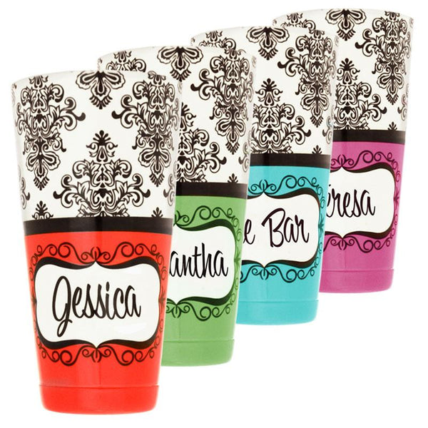 ADD YOUR NAME - Cocktail Shaker Tin - 28 oz weighted - Damask Facing UP