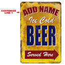 "CUSTOMIZABLE Vintage Metal Bar Sign - 12"" x 18"" - Ice Cold Beer"