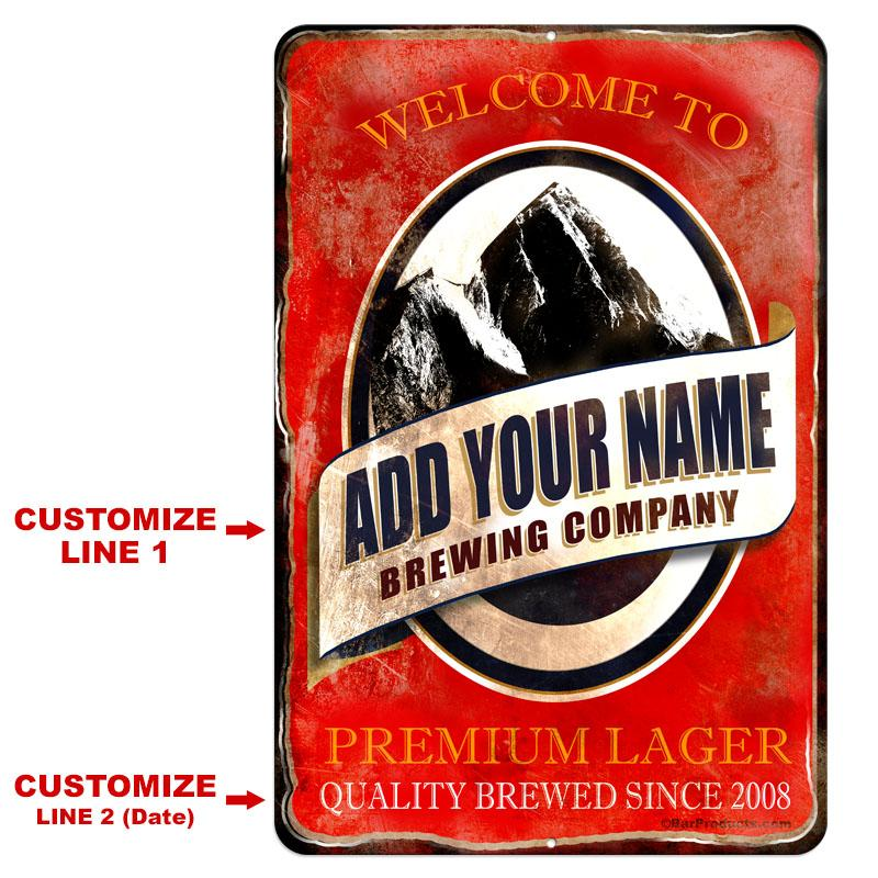 "Vintage Metal Bar Sign - 12"" x 18"" - CUSTOMIZABLE Brewing Company (Red)"