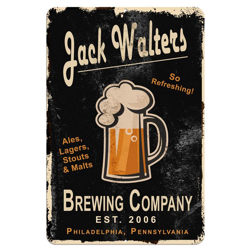 "CUSTOMIZABLE Vintage Metal Bar Sign - 12"" x 18"" - Brewing Company (Black)"