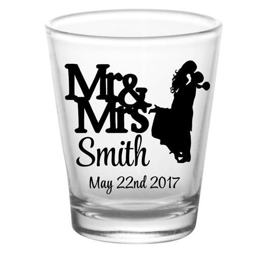 CUSTOMIZABLE - 1.75oz Clear Shot Glass - Mr & Mrs Cute Silhouette
